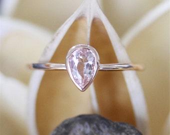 Bezel Ring Tear Drop Pink Morganite Ring,4*6mm Pear Cut Morganite Engagement Ring,Plain Solid Gold,14K Rose Gold Ring,Stackable,Bridal Ring