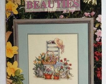 Garden Beauties Counted Cross Stitch Leaflet from Leisure Arts (2) Pattern Designs by Lorri Birmingham  #2803