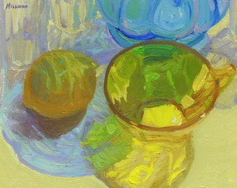 Colored Glass with Lemon