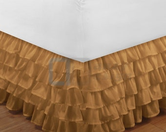 "Taupe Ruffle Bed Skirt with 12"" to 30"" Deep Length"