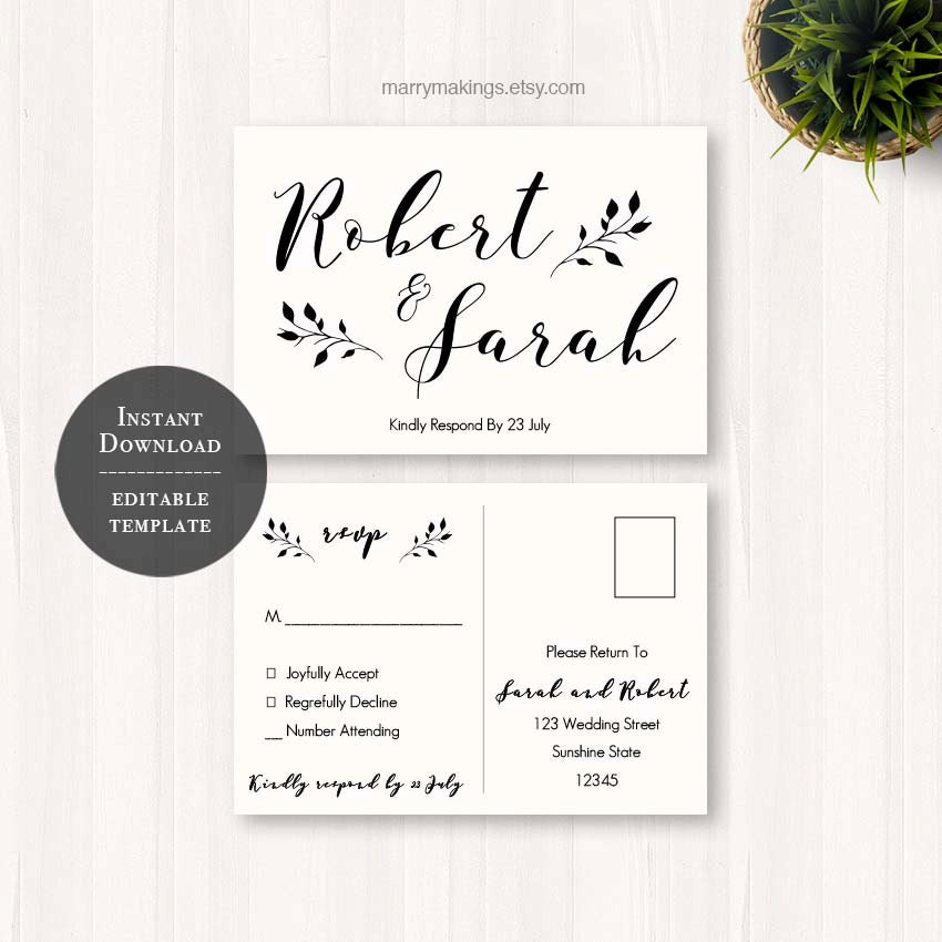 Diy wedding rsvp rsvp template wedding printable wedding for Rsvp cards for weddings templates