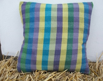 Cushion cover hand-woven, Cushion cover, yellow green purple blue, 40 x 40 cm, 60% cotton - 40 lines, minimalist modern simple, country house