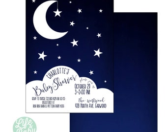 Moon and Stars Invitation |  Goodnight Moon Invitation | Moon Baby Shower Invitation | Moon Invitation - 5x7 with reverse side