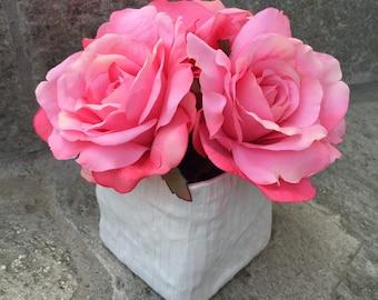 Faux Silk Floral Arrangement, Faux Water, Artificial Flower Arrangement, Wedding Flowers, Home Decoration