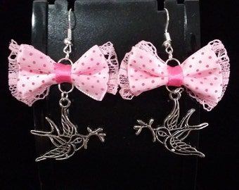Bow bird earrings