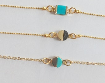 Colorful marble pieces with 24K gold plated circle or square pieces with o-ring or ball chains bracelets