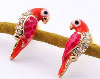 Red Parrot Stud Earrings