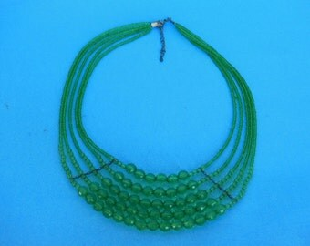 Green Vintage Multi Strand Beaded Necklace