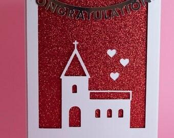 Handmade Church Wedding card with Sparkly Red Background, wedding day card, wedding congratulations card, bride and groom card