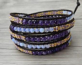 5 wraps bracelet gemstone wrap bracelet bead boho bracelet amethyst opal bead bracelet gypsy bracelet leather wrap bracelet Jewelry SL-0290