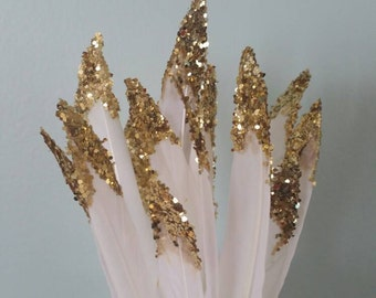 Set of 50 Gold glittered dipped white real feathers