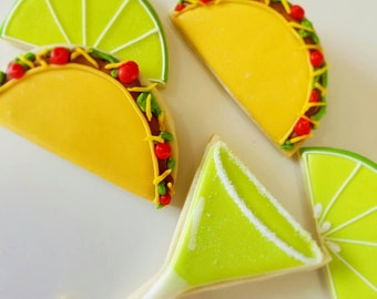 Fiesta cookies, fiesta birthday party, Fiesta party favors,Fiesta party, tacos and tequila, margaritas, tequila, margarita hour cookies