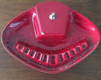 Mid Century Modern Red Ceramic Ashtray with Green Specs