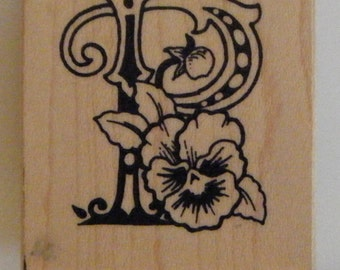 P is for PANSY initial rubber stamp