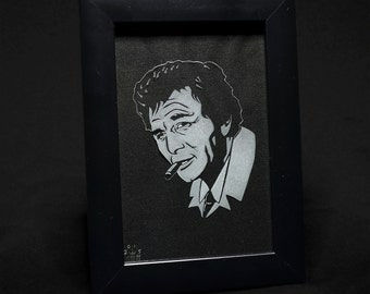 Lt Columbo With Cigar Framed Glass Engraving by JayEngrave