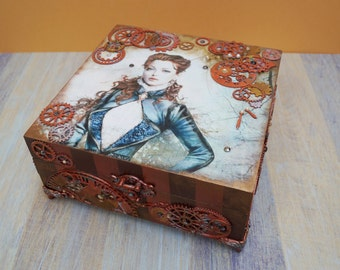 Wooden jewelry box Steampunk original box wood box beautiful box home decor handmade box jewelry storage jewelry holder gift for her