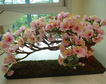 Artificial Sakura Bonsai made from Cray Indoor Decorative