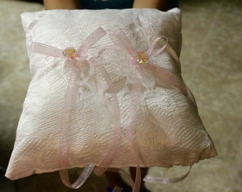 Lace ring pillow / white and pink ring pillow / lace personalized ring pillow