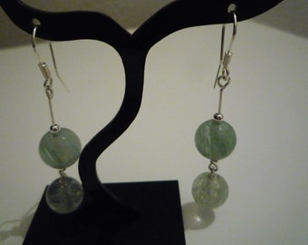925 with mossy green quartz Sterling Silver earrings