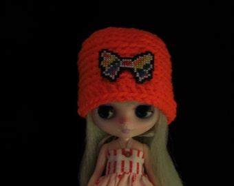 Rainbow Bow, Orange Middie Blythe Crochet Hat