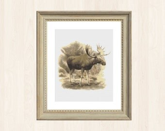 Vintage Moose Cross Stitch Pattern Canadian Pattern Instant Download Woodland Creature Woodland Stitch Forest Decor Canada Nature Gift