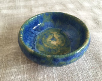 Ceramic Dipping Bowl /Blue and Green Bowl / Dipping Bowl/ Al Fresco Dining/ Thai Food Bowl/ Party Food Server