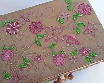 New Beaded Silk Trinket Box
