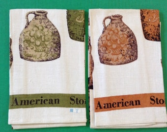 Set of Two (2) Fallani and Cohn Linen Tea Towels signed by artist Luthor Travis