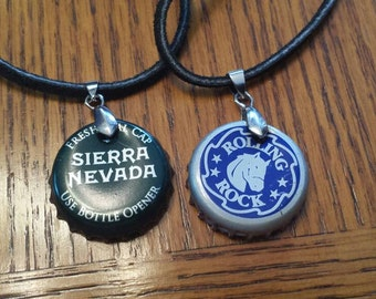 Bottle cap pendants made from a variety of craft beers/sodas
