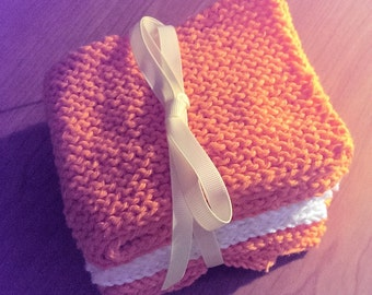 Knitted Autumn/Halloween Washcloths - Set of Three