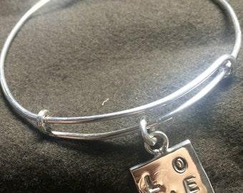 "Sterling silver Slide bangle bracelet w/ ""LOVE"" charm"