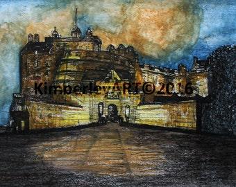 Edinburgh Castle Art Print, Edinburgh Castle Painting, Wall Art Print, Scottish Castle Print, Scottish Art, Watercolour Castle Print