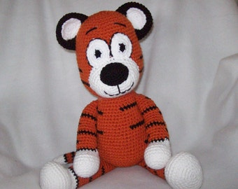 Tiger stuffed animal,Hand Crochet, about 17in tall standing up and around 12 in sitting down
