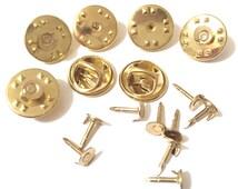 25 pcs Raw brass 5 mm Base Round Brooch Pin Back , Rosette 12 mm