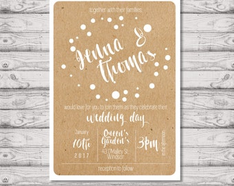 Kraft Wedding Invitation - Print At Home File or Printed Invitations - Kraft Personalised Watercolor Wedding Invite - Rustic