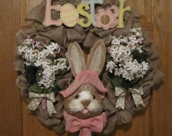 Easter Wreath, Bunny Wreath, Spring Wreath, Burlap Wreath, Easter Decoration, Spring Decoration