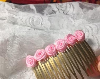 Satin Pink Rose Hair Comb