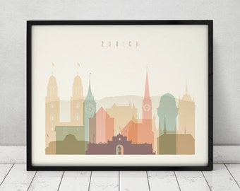 Zurich print, Poster, Wall art, Cityscape, Zurich skyline, City poster, Switzerland print, Gift, Home Decor, Fine Art Prints ArtPrintsVicky