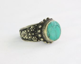 Afghan Traditional Ring, Belly Dance Turquoise Ring, Vintage Costuming Ring