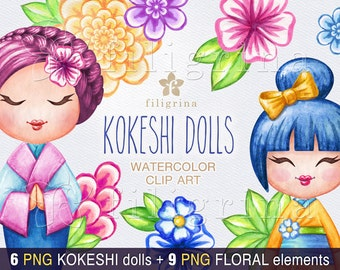 KOKESHI doll watercolor Clip Art. Flowers, leaves, fashion, holiday invitation, nursery, asian doll, cute girl 15 elements. Read about usage