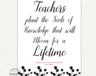 50% OFF SALE - Printable Teachers Gift, Last Minute Teachers Gift, Teachers Plant the Seeds of Knowledge Printable Sign, Instant Download