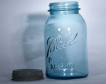Vintage Blue Ball Canning Jar with lid