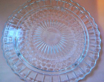 Vintage Federal Glass Bubble and Panel Pattern Cake Plate
