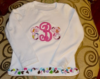 Girls monogrammed shirt, monogrammed shirt,  appliqued shirt,  girls personalized shirt,  girls custom shirt,  girls name on shirt