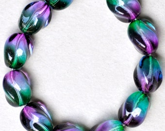 Twisted Oval Bead - Czech Glass Beads - Various Bicolors - 13mm x 10mm - Qty 10