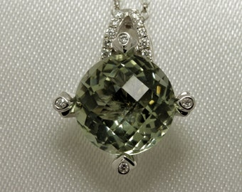 Peridot and diamond set 18ct white gold ladies pendant