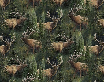 Wild Wings Elk Lazy Afternoon In Pines Fabric From Springs Creative Sold by the Yard