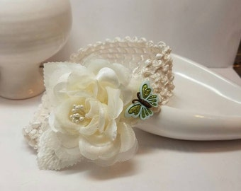 Infant Headband Ivory with flower and butterfly focal