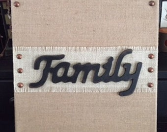 Family Burlap Canvas, Wall Decor, Home Decor, Family Wall Hanging