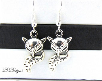 Fox Earrings,  Fox Jewelry, Fox Gifts, Sterling Silver Earrings, Fox Charm Earrings, Novelty Earrings, Funky Earrings, Gifts for Her,